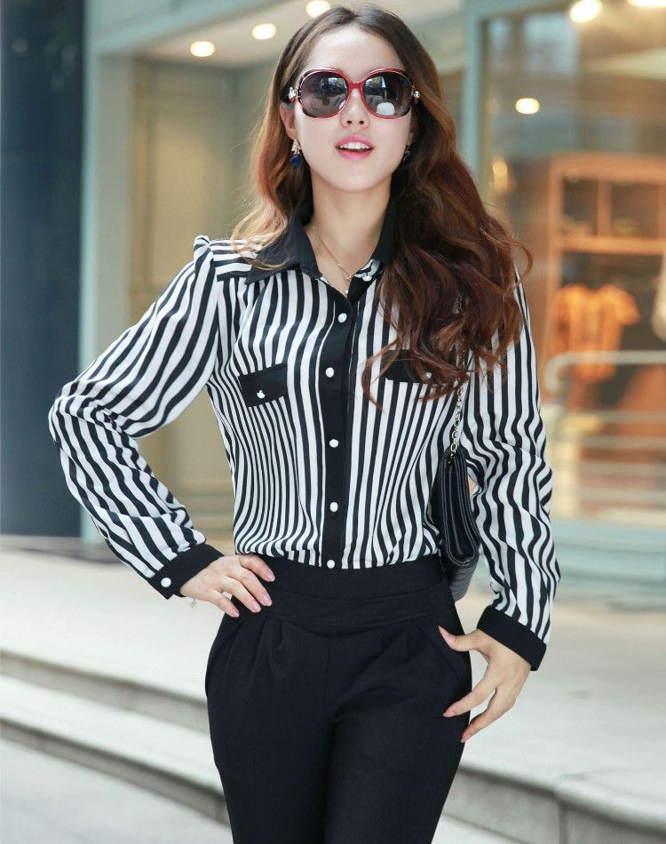 Blusas y moda » Elegantes blusas de manga larga rayadas 2