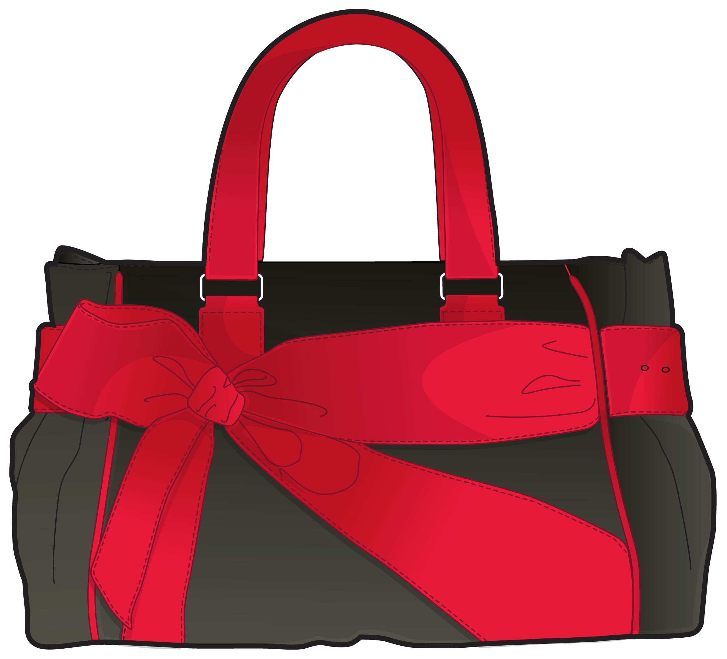dark grey handbag with red handle and bow