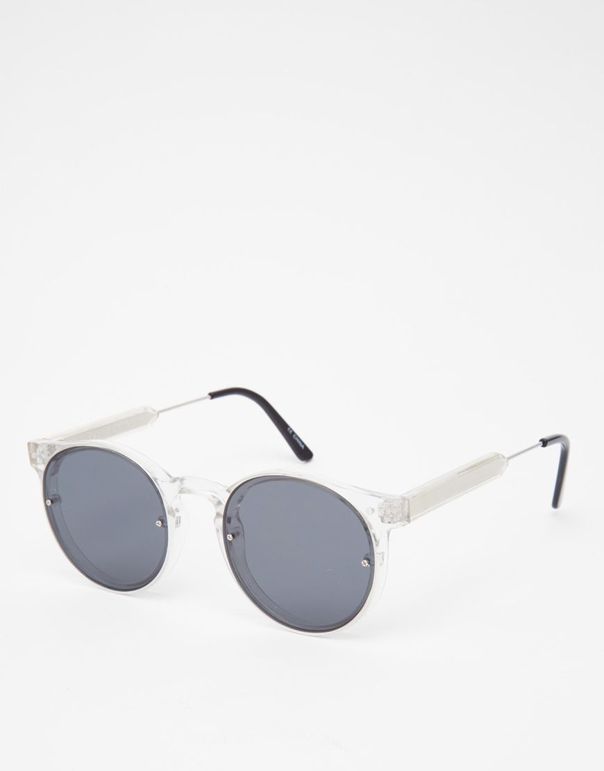 23423b5506 Image 1 of Spitfire Post Punk Round Sunglasses In Clear