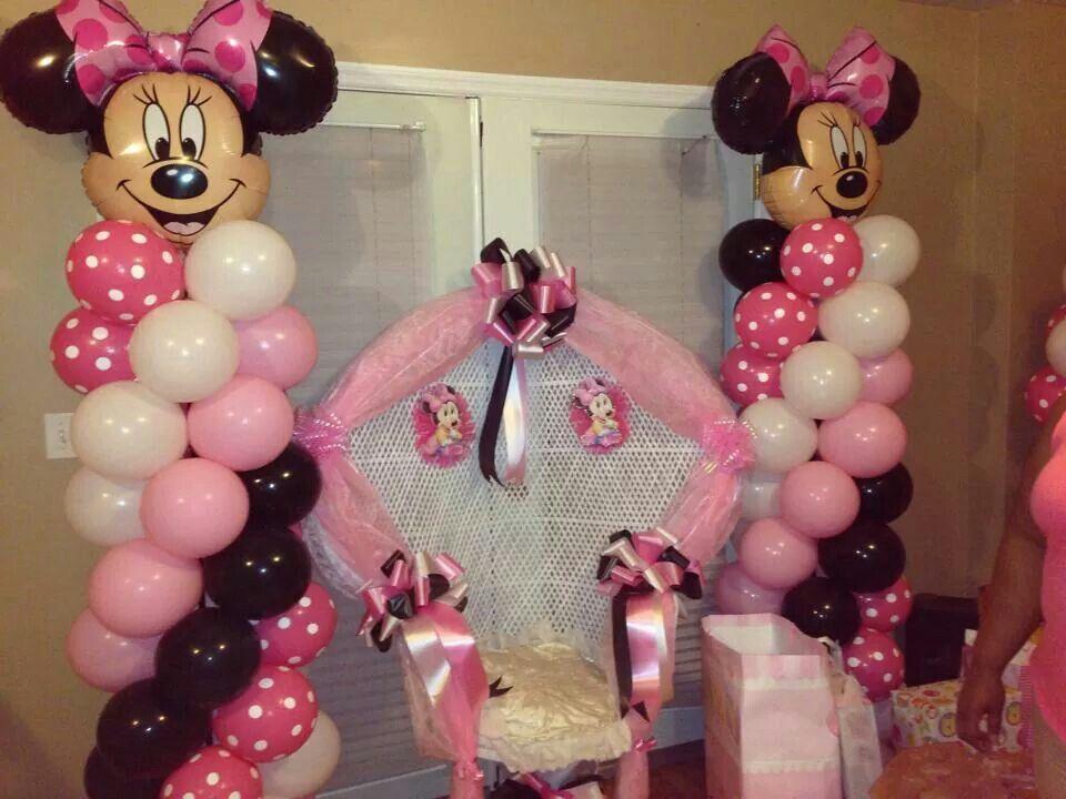 Minnie Mouseballoondecoration Baby Shower Balloon Columns