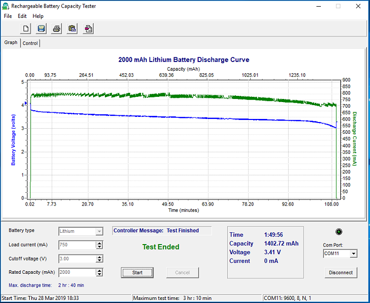 Arduino Rechargeable Battery Capacity Tester