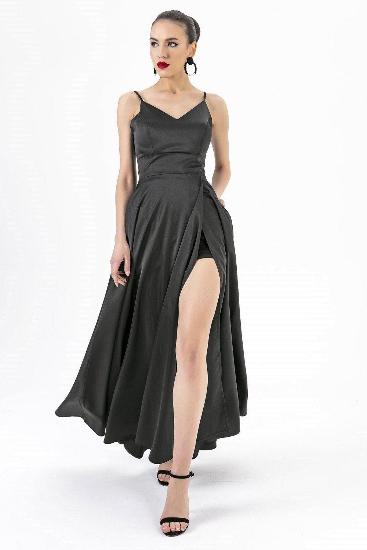 By Saygi Ip Askili Saten Siyah Uzun Abiye Elbise Elbisebul 2020 Elbise The Dress Moda Stilleri