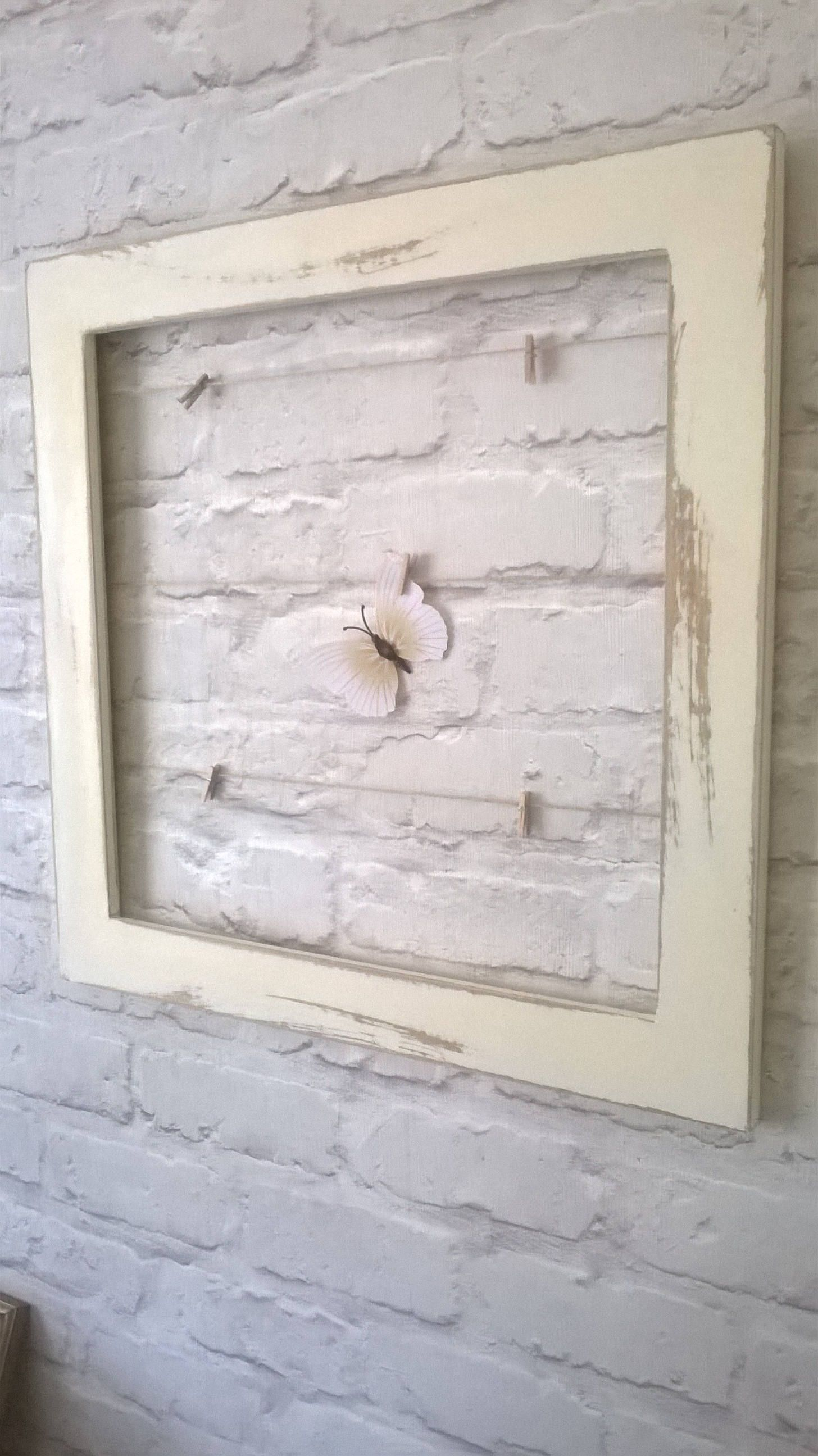 Shabby Chic Large Square Picture Frame Memo Board - string/pegs ...