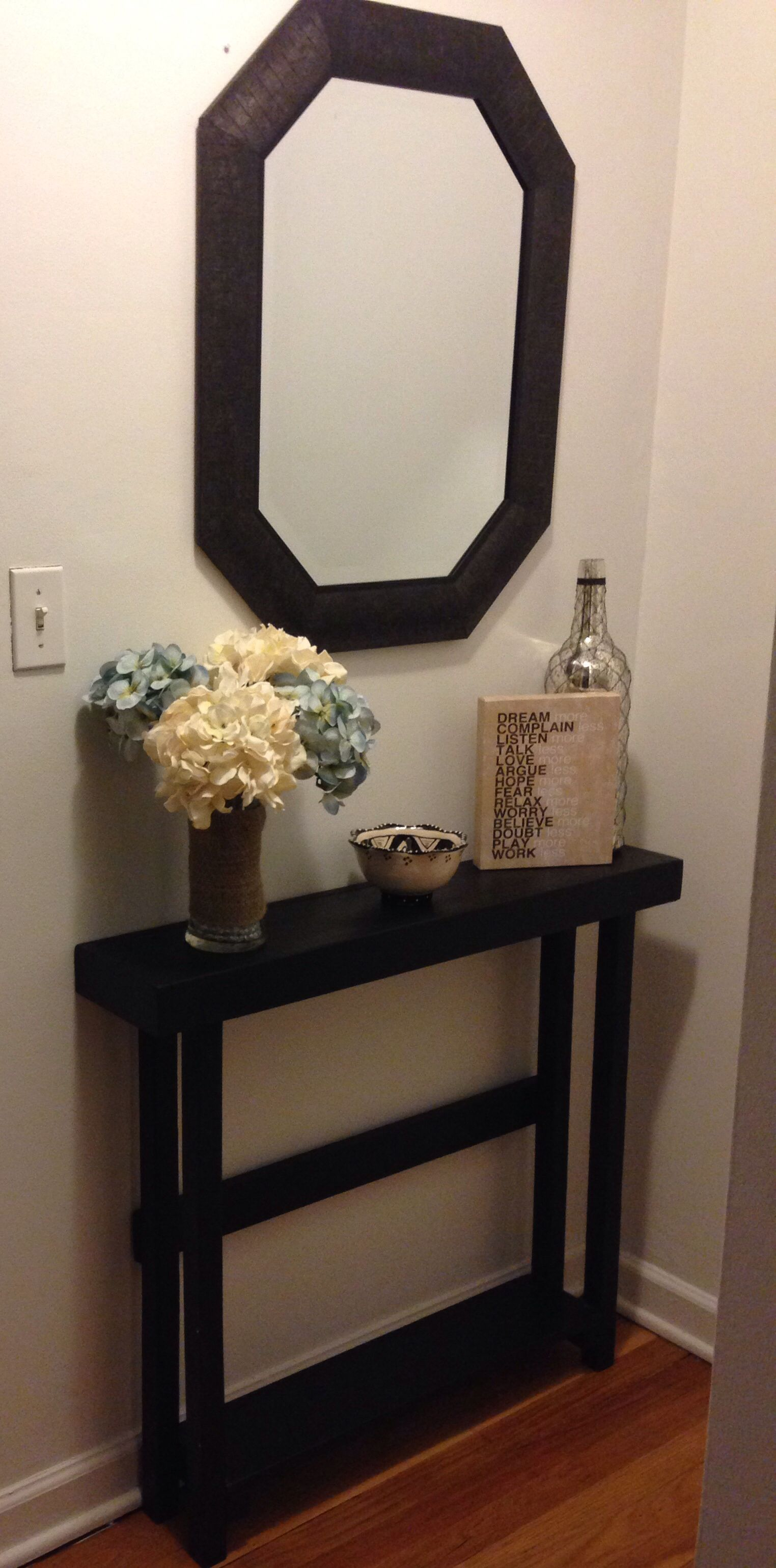 Entryway table decor | Small entryway table, Tiny entryway, Foyer