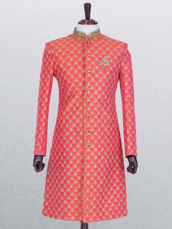 Pink raw silk indo western groom pinterest westerns silk and