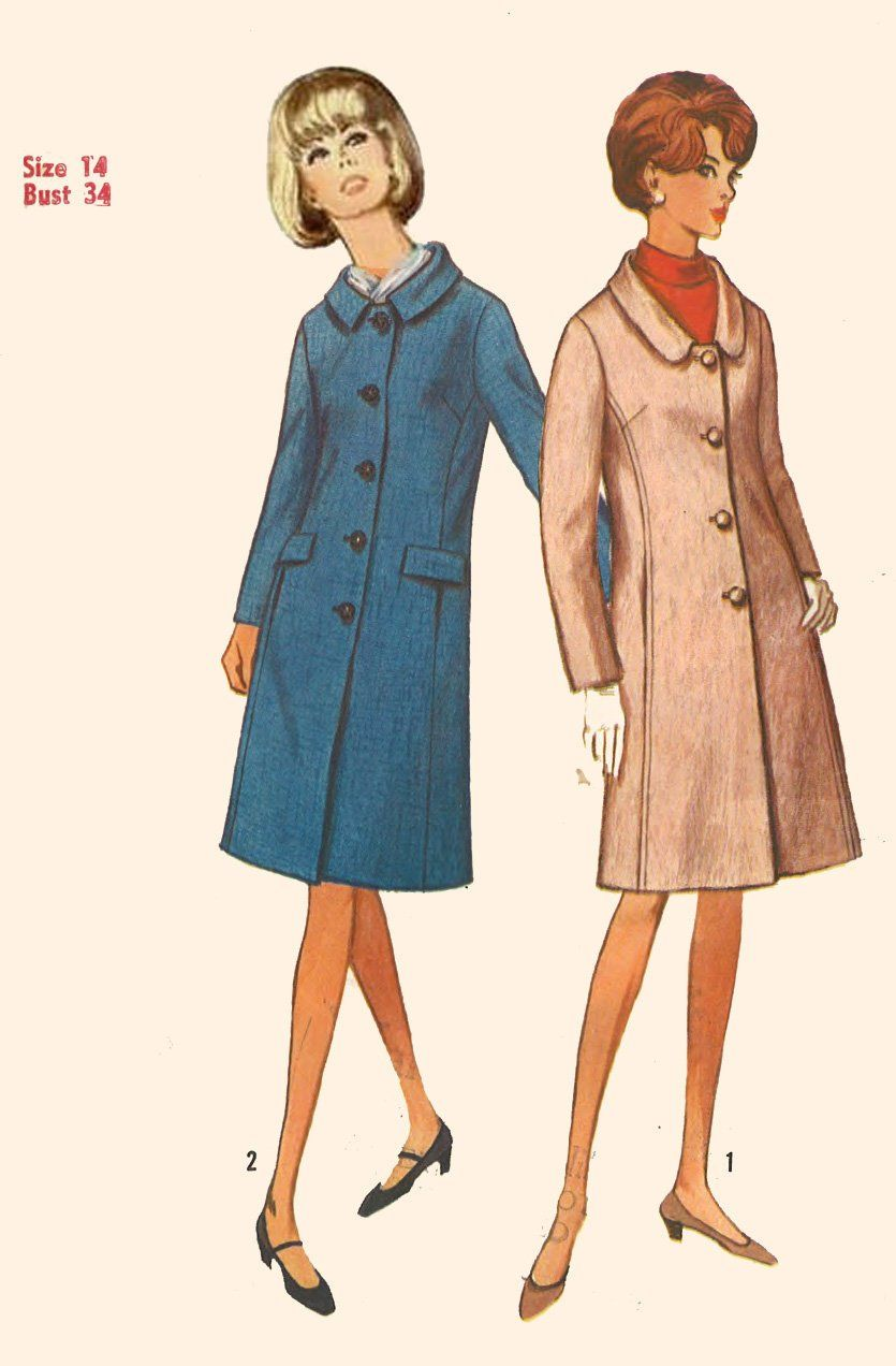 Vintage 1960's Sewing Pattern Women's Fitted Coat. Bust