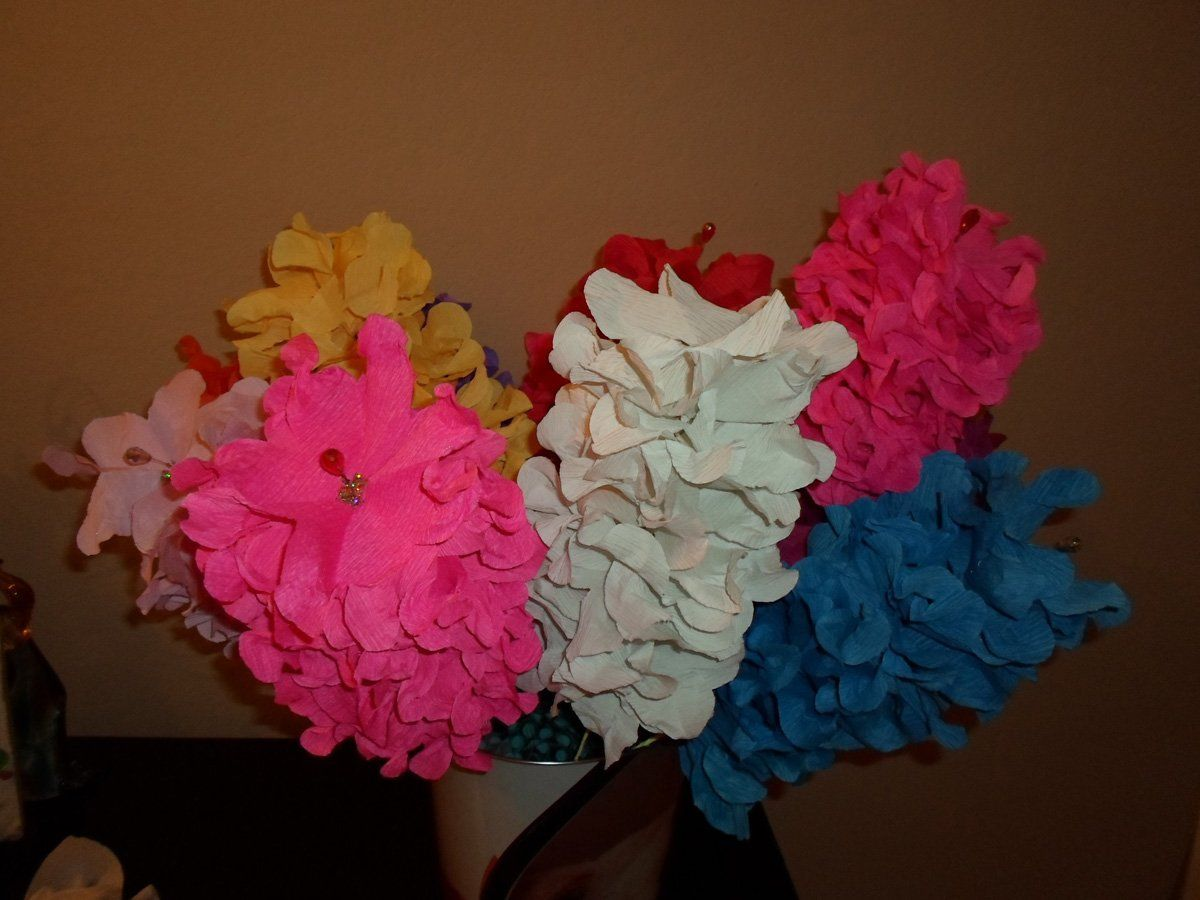 Set Of 3 Mexican Crepe Paper Flowers Mexican Fiesta Style 10