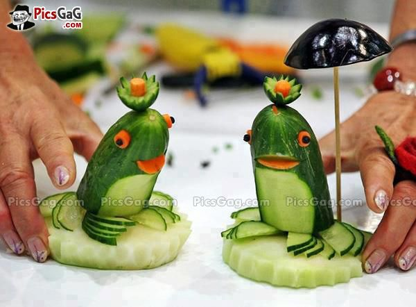 Cucumber carving vegetable art and these animals