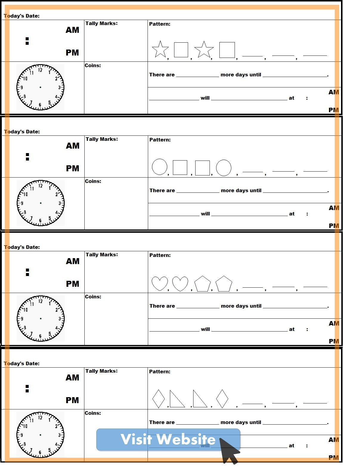 First Grade Math Worksheets Free Morning Work In