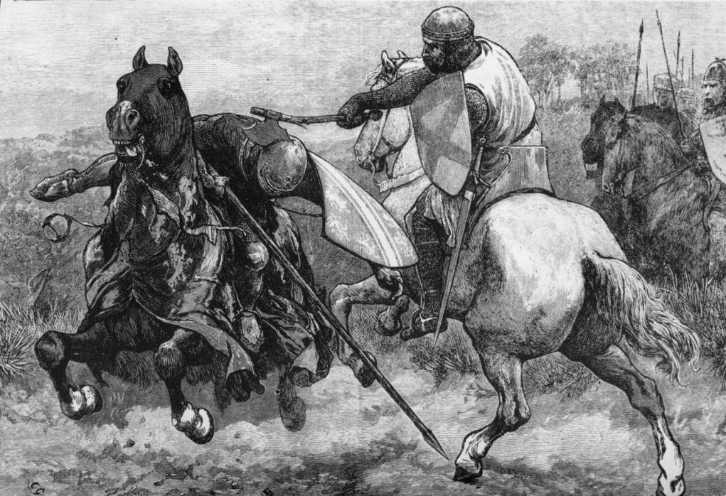 z- Robert de Bruce Kills Sir Henry de Bohun, III (note handle breaks) [Engraver- Alan King]