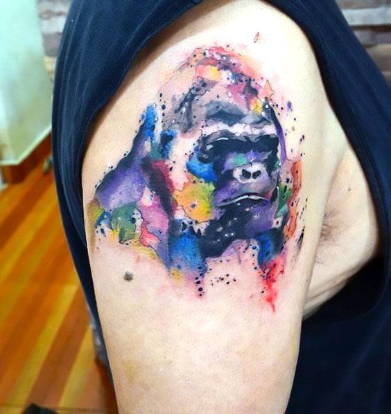 Aquarelle Gorilla Tattoo Idea Gorilla Tattoo Sleeve Tattoos For Women Picture Tattoos