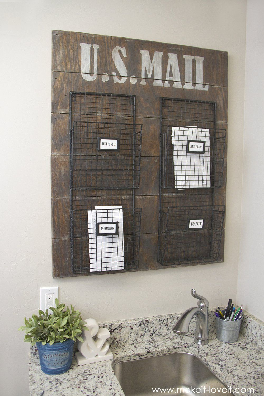 wall mounted mail organizerfrom scrap wood! | via make it and
