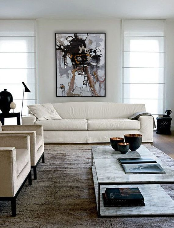 Abstract Oil Painting, Contemporary Art, Living Room wall ...