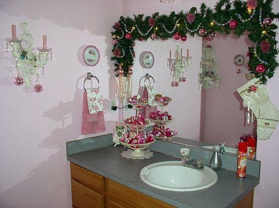 Espejos decorados para navidad buscar con google - Adornos navidenos para el bano ...