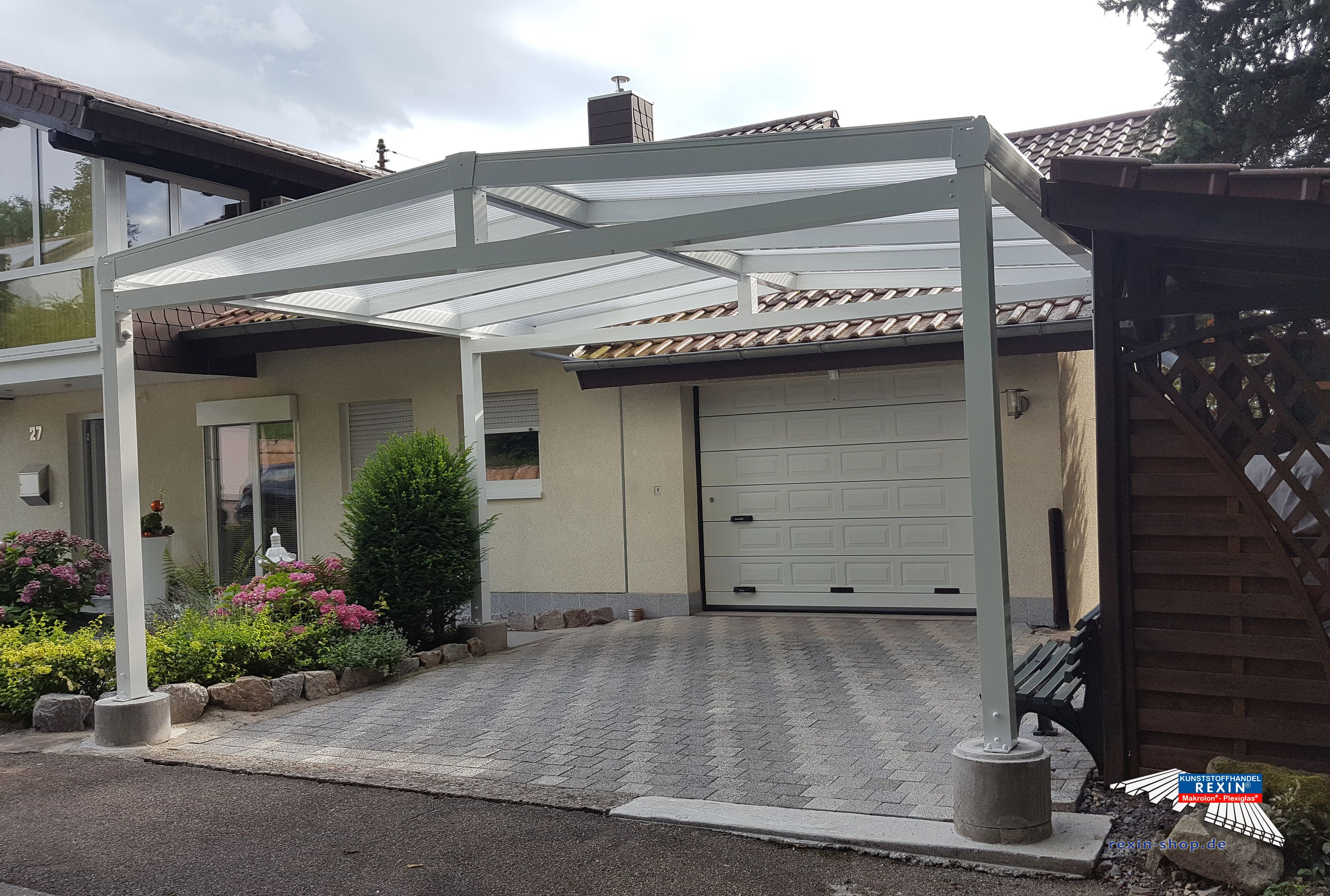 alu carport der marke rexoport 5m x 5m auf kundenwunsch angepasst auf 5m x 4m in wei bei. Black Bedroom Furniture Sets. Home Design Ideas