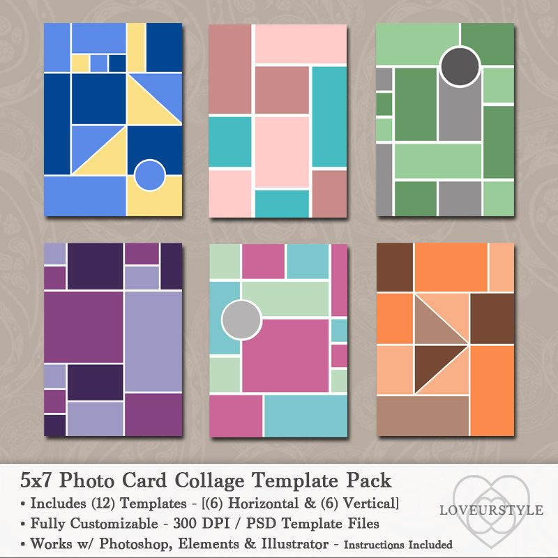 5x7 Photo Template Pack, Photo Card Collage , Photo Collage, Card