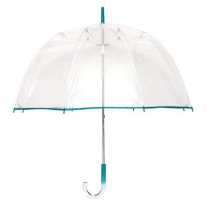 Dome Umbrella Clear Transparent Walking Rain Brolly Pink Trim