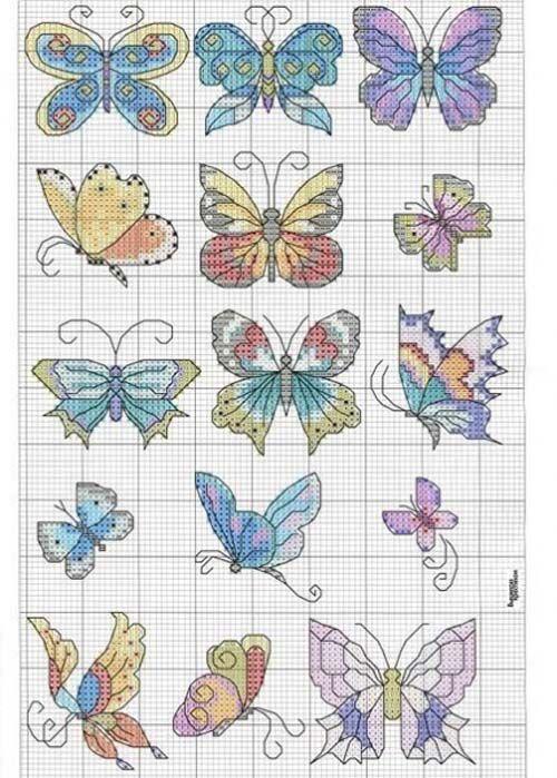 Graficos de mariposas en punto de cruz … | IDEAS PIN | Pinte…