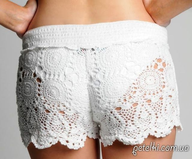 Patrón #631: Short Blanco a Crochet | CTejidas [Crochet y Dos Agujas ...
