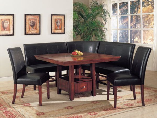 Corner Dining Table Furniture Set With Black Leather Bench And