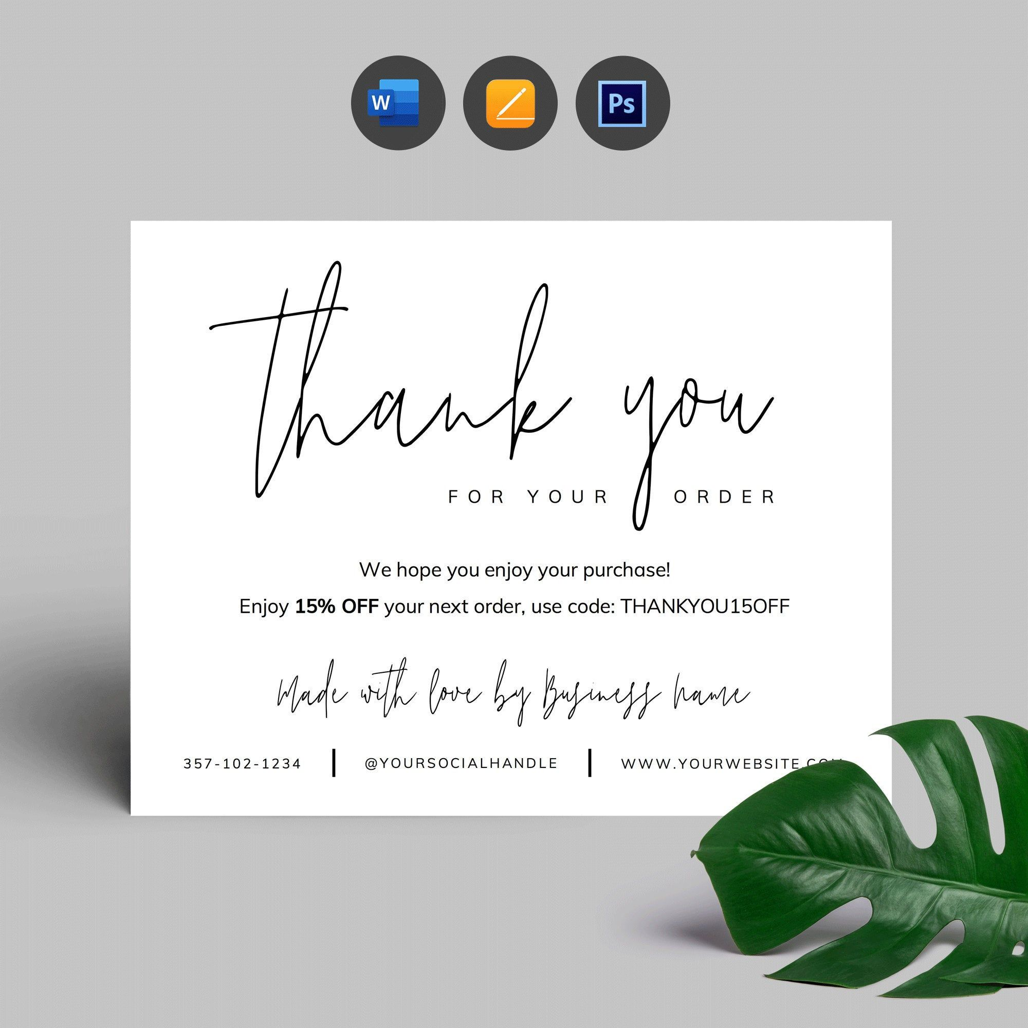 Printable Business Thank You Card Template Corjl Thank You Etsy In 2021 Thank You Card Design Thank You Card Template Business Thank You Cards