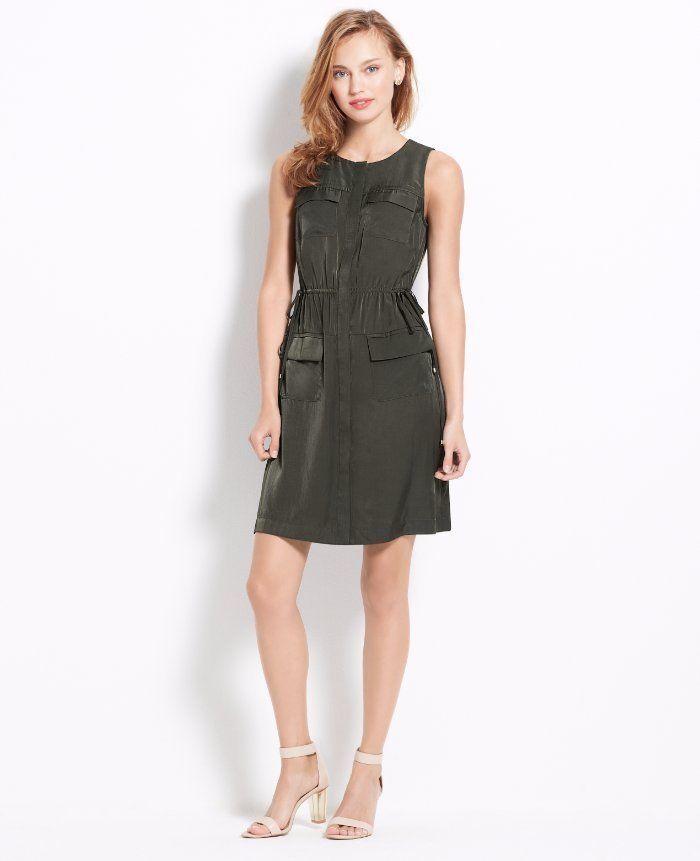 $139 Ann Taylor Woodland Green Satin Drawstring Side Tie Shirt Dress ...