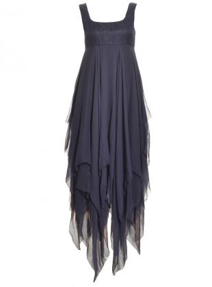 Miranda Navy Blue Chiffon Hem Dress by Kelly Shaw