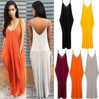 Wish   Soft Milk Fiber Sleeveless Pocket Dress Women Sexy V Neck Backless Sun Dress Lady's Beach Boho Long Dress