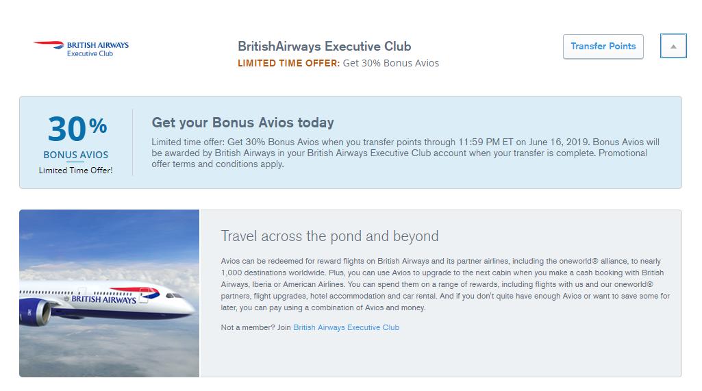 Whoa Chase Offers First Ever Transfer Bonus With 30 To British Airways British Airways British Travel Rewards