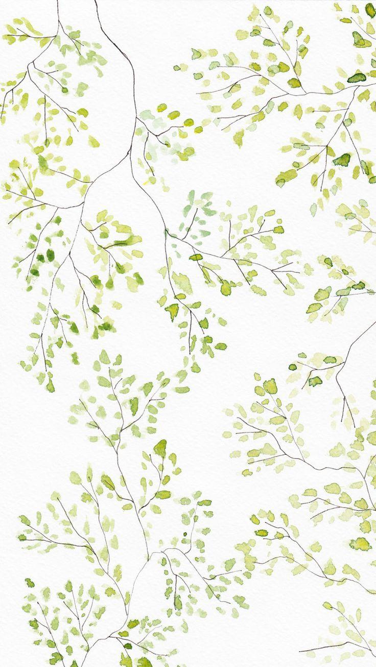 Green White Watercolour Blossom Leaves Plant Wallpaper