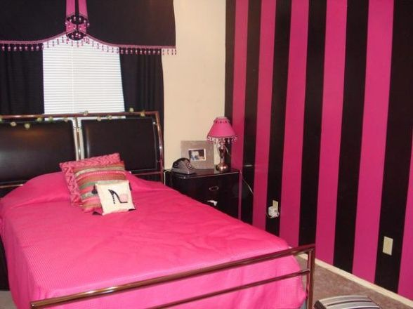 Interior, Striped Black Pink Wall Deisgn And Elegant Steel Bed Frames Also  Nice Curtains With Bedside Tables: Pink And Black Room Decorating.