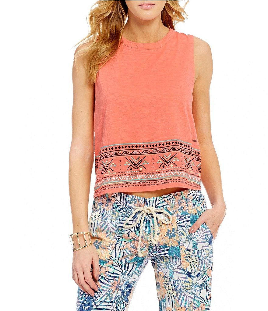 Roxy Shadows And Light Embroidered Knit Tank Top Knitted