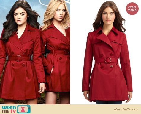 the pretty little liars� red trench coat outfit details
