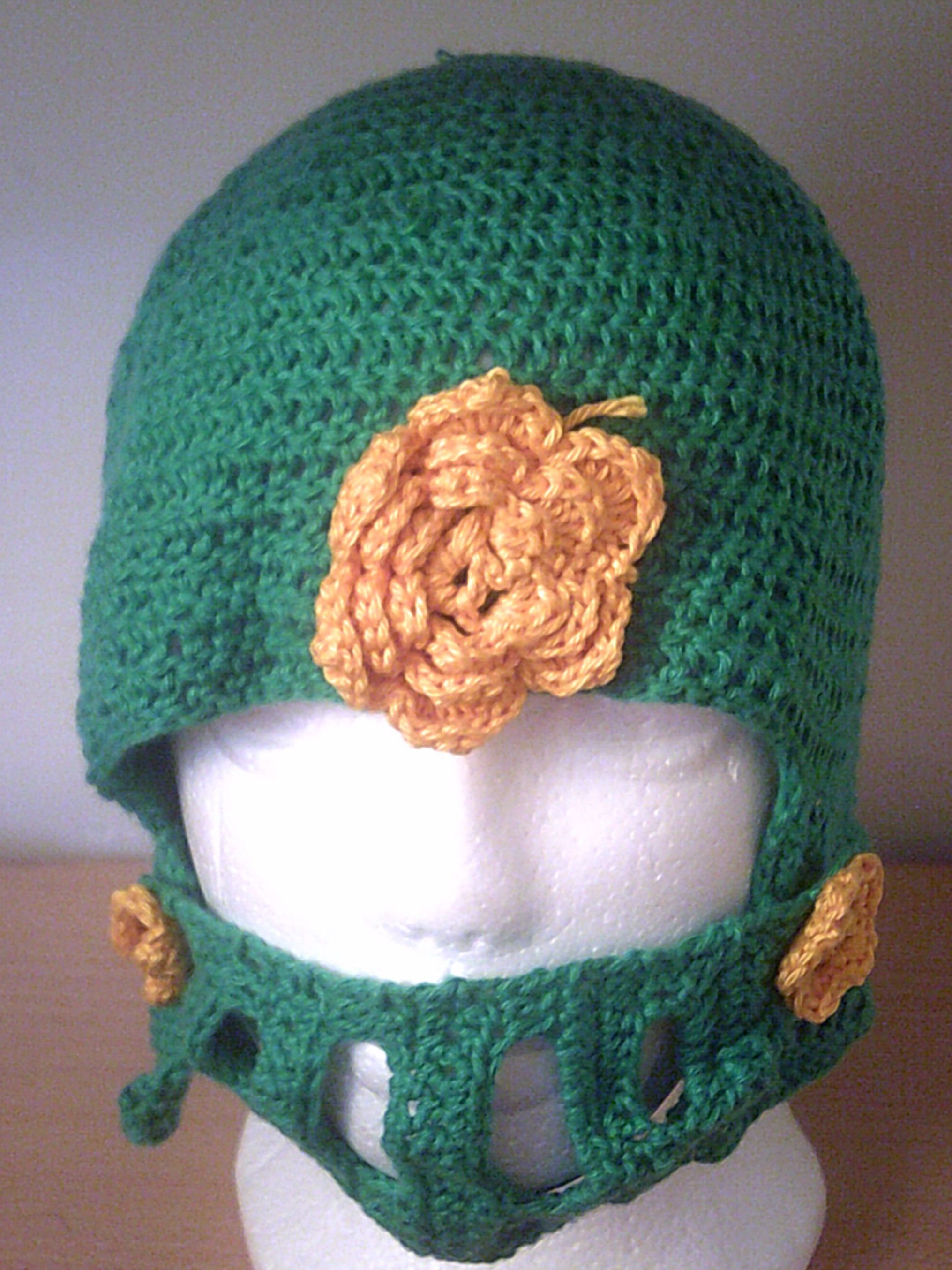 Green knight helmet, decorated with gold flowers, knight hat ...
