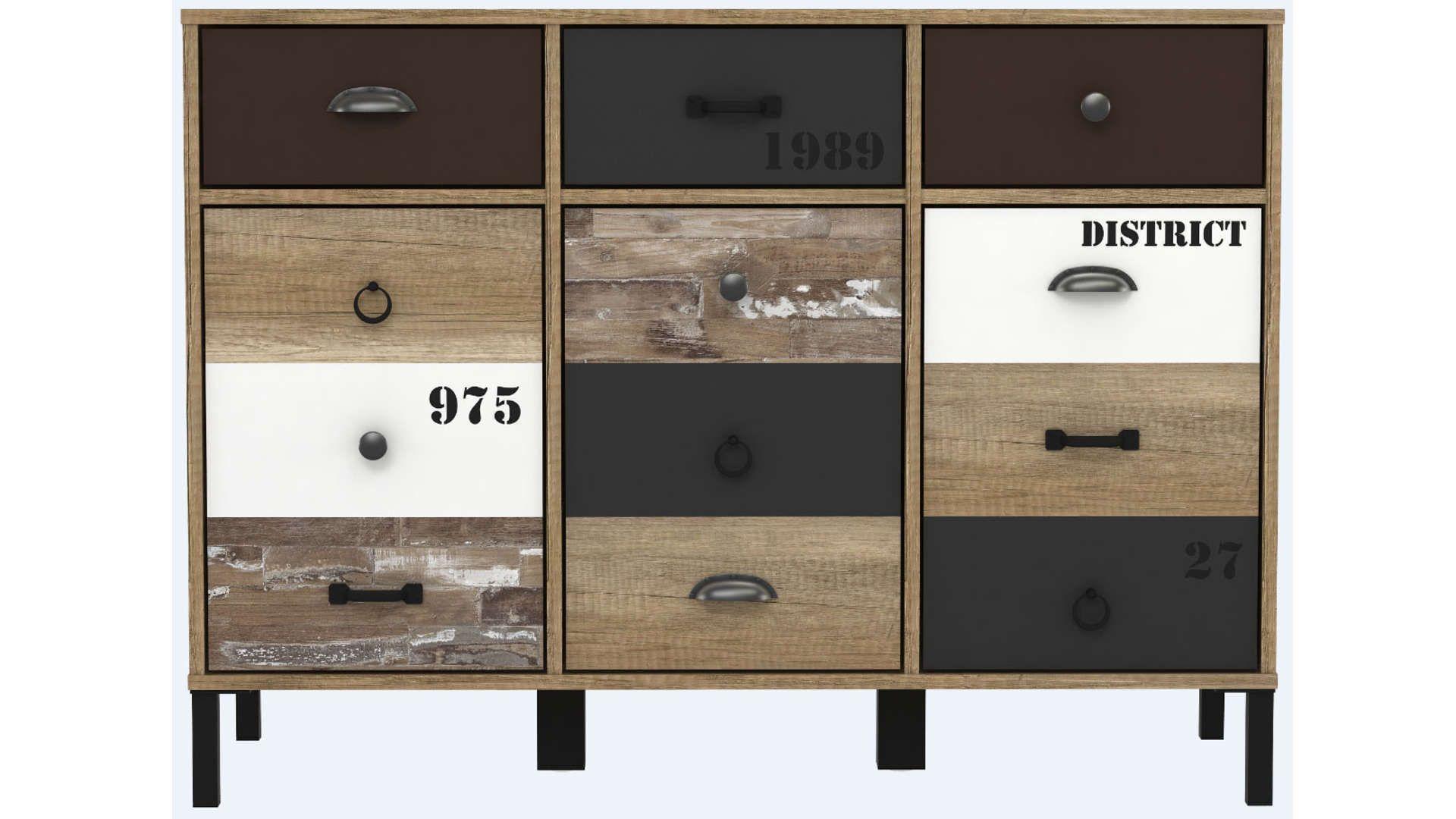 Rangement 3 Portes 3 Tiroirs 586886 Conforama Meuble Conforama Mobilier De Salon