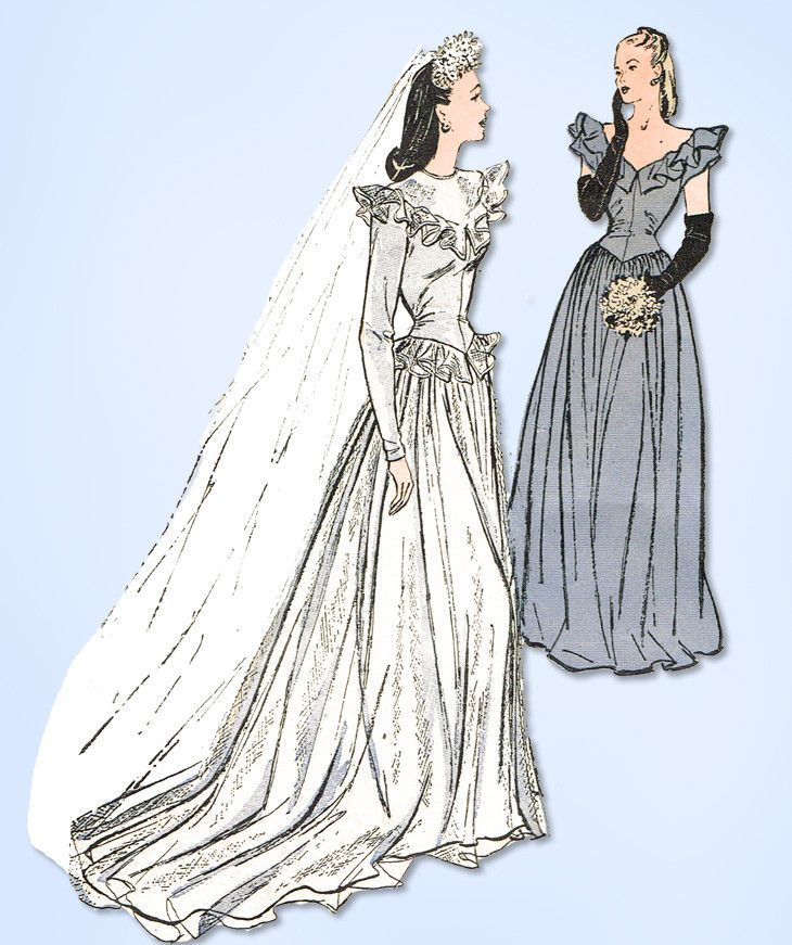 1940s Vintage Butterick Sewing Pattern 3685 Rare WWII Misses Wedding ...