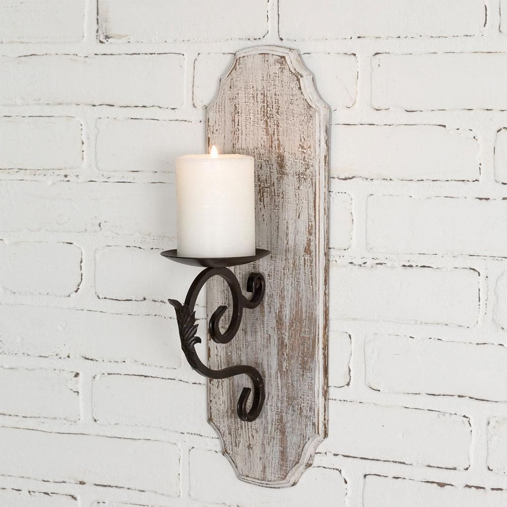 White Wood Pillar Candle Sconce In 2021 Wall Candle Holders Wall Candles Candle Sconces