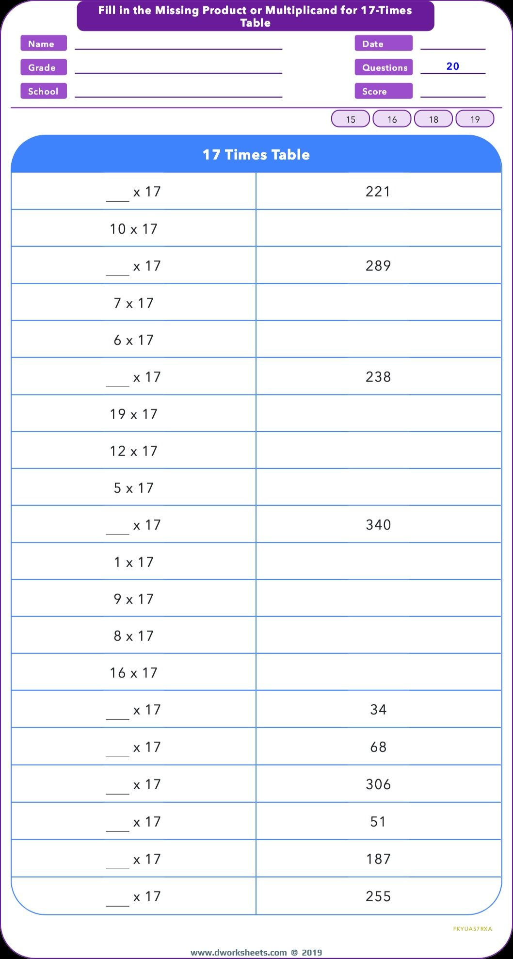 Practice 17 Times Table By Filling Missing Product Or