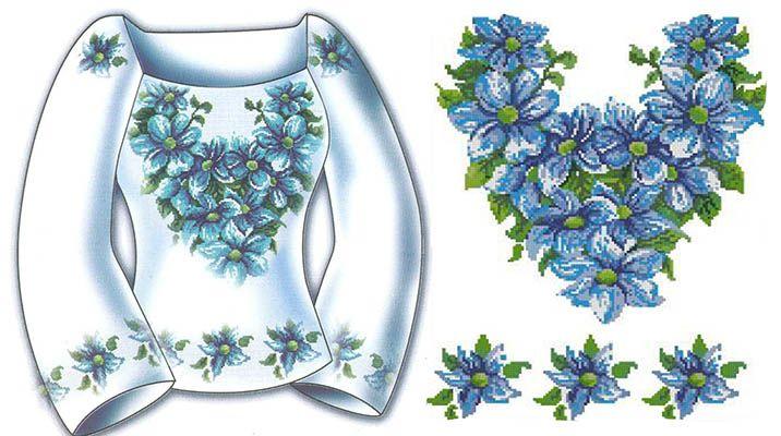 Вышивка крестом для рубахи схемы