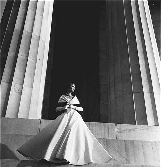 An architectural photo of model Evelyn Tripp #1950s #vintage