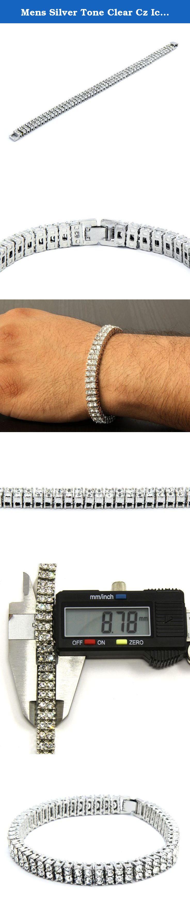 Mens silver tone clear cz iced out row hip hop bracelet