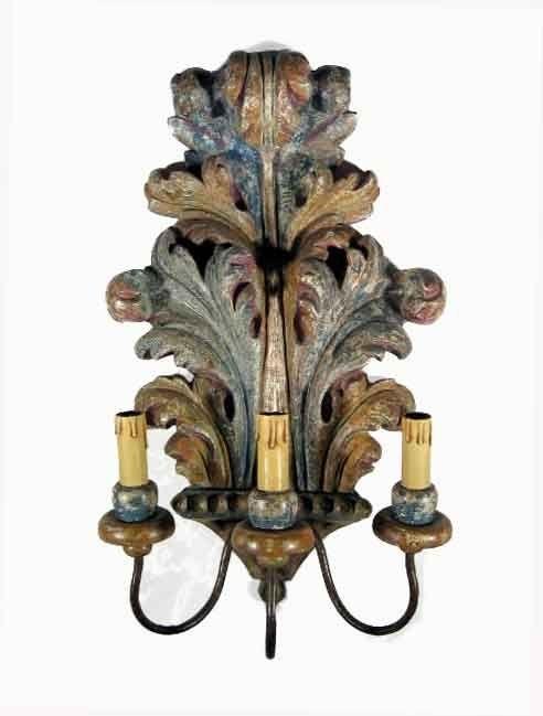 Applique in legno intagliato policromo - Epoca: Primi 1900