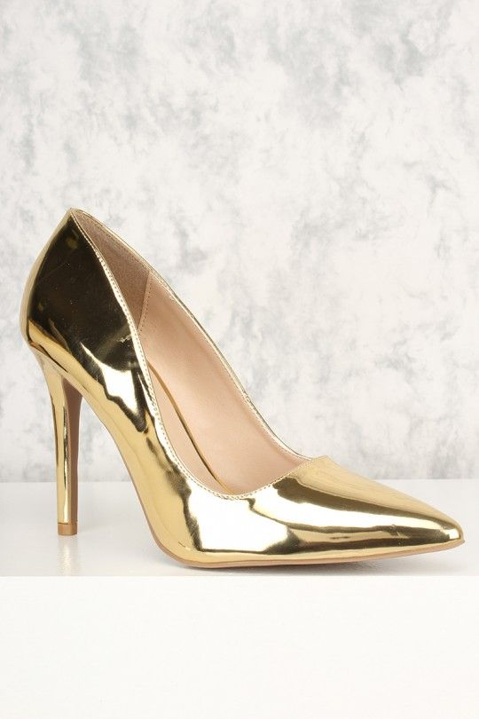 84a9875071 Faux leather, metallic, pointy toe, cushioned footbed. Approximately 4 1/3  inch heel.