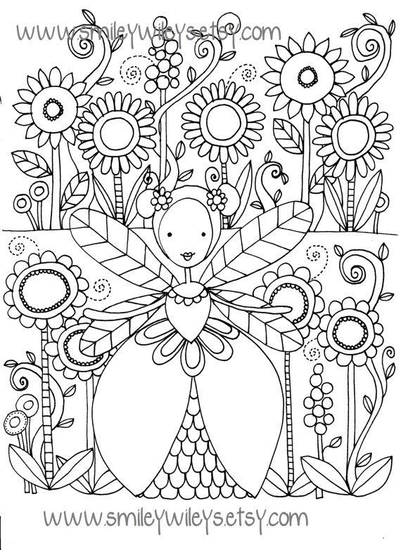 Set of 5 different Fairy Happy Printable Colouring Pages by ...