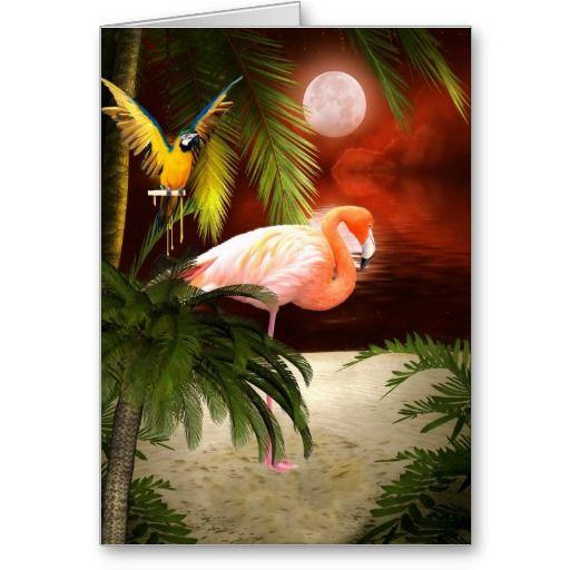 Tropical Flamingo Birthday Card