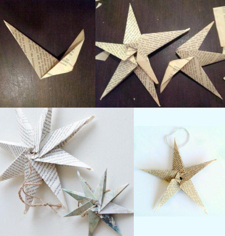 Effektvolle dekorative sterne aus zeitungspapier selber - Origami weihnachtsdeko ...