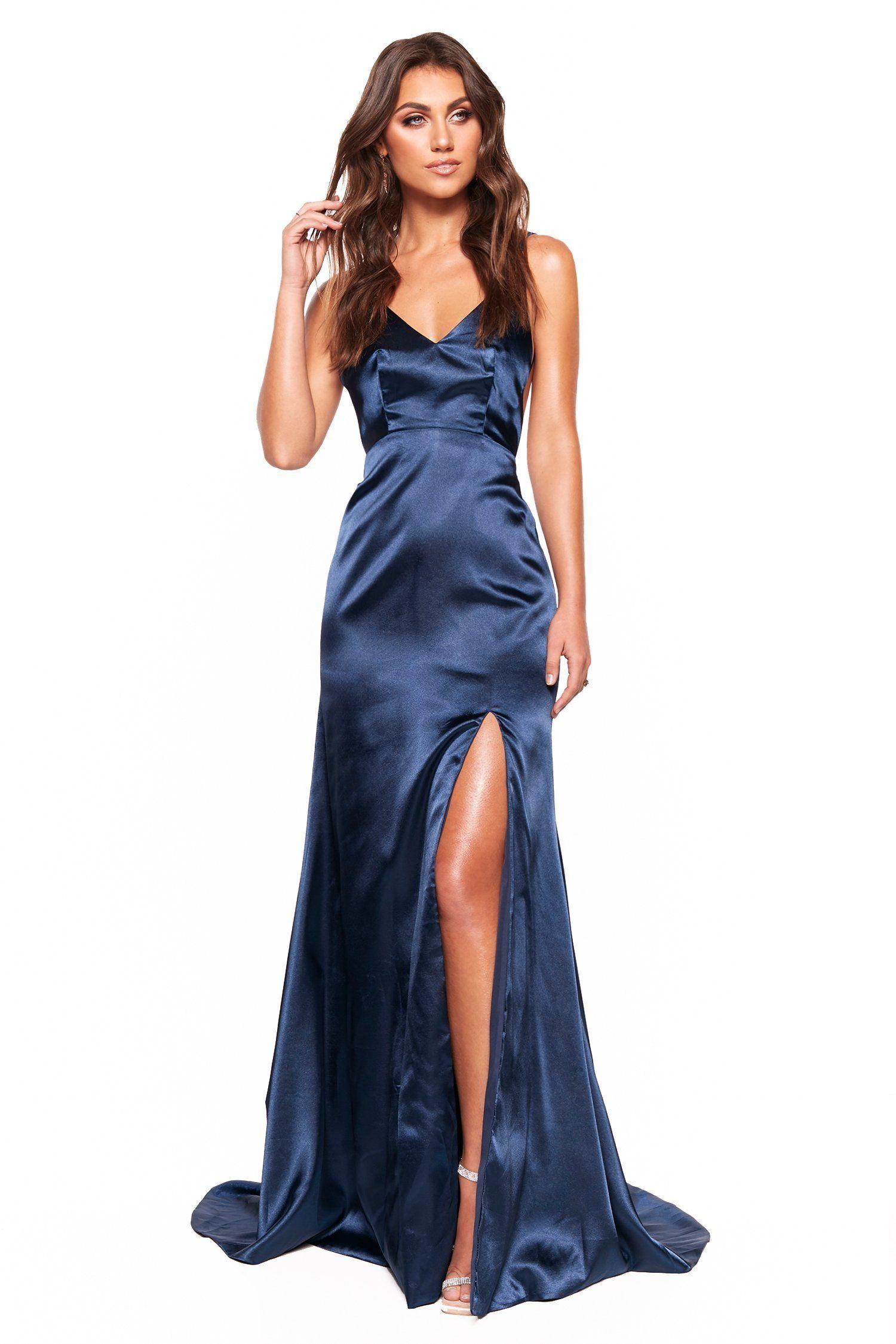 Navy Satin Prom Dress | Satin gown, Silk prom dress, Navy satin dress