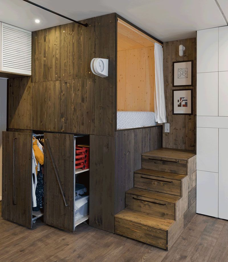 Small Apartment Design Idea - Raised bedroom allows for storage ...