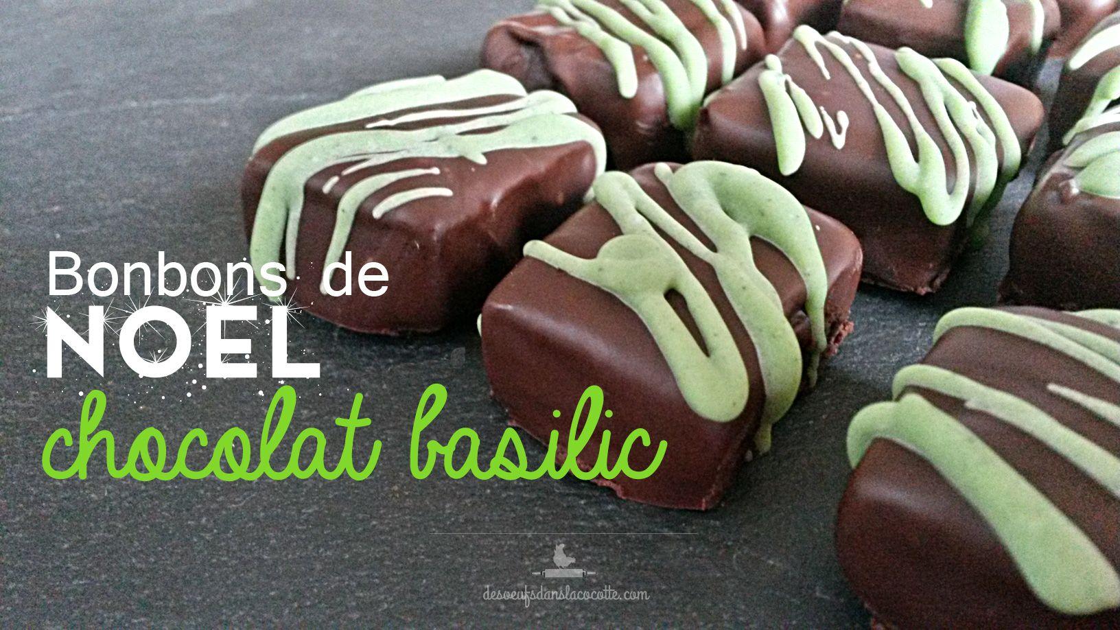 Bonbons de Noël au chocolat noir et aux saveurs de basilic. Aspect classique mais une saveur modernisée et peu commune.   http://desoeufsdanslacocotte.com/bonbon-de-noel-chocolat-basilic/