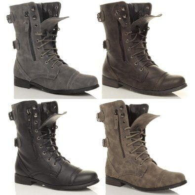 01c13f55076cc Womens ladies military brogue combat army lace up zip ankle boots size Dark  grey size 6 UK